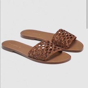 Zara brown braid sandals